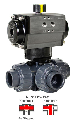 "Air Actuated 3-Way T-port PVC Ball Valve 1-1/4"" - Spring Return"