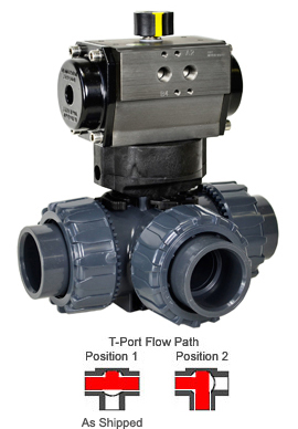"Air Actuated 3-Way T-port PVC Ball Valve 1-1/2"" - Double Acting"