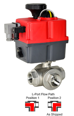 "3/4"" Electric 3-Way Stainless L-Diverter Valve 24-240V AC/DC"