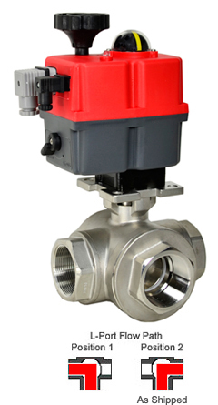 "Electric 3-Way Stainless L-Diverter Valve 2"", 24-240V AC/DC"