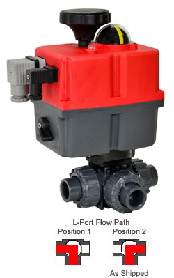 "3/4"" Electric 3-way L-Port PVC Ball Valve PTFE/EPDM, 24-240V AC/DC"