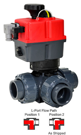 "Electric 3-way L-Port PVC Ball Valve PTFE/EPDM 1-1/2"", 24-240V AC/DC"