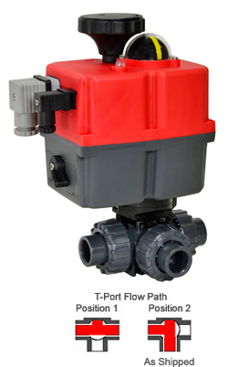 "Electric 3-way T-Port PVC Ball Valve PTFE/EPDM 3/4"", 24-240V AC/DC"