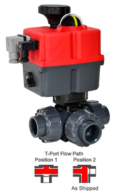 "Electric 3-way T-Port PVC Ball Valve PTFE/EPDM 1-1/4"", 24-240V AC/DC"