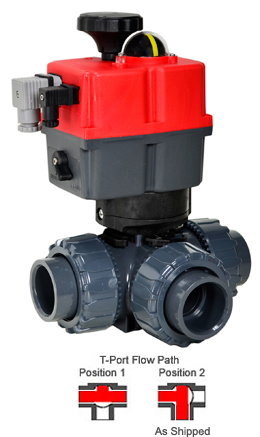 "2"" Electric 3-way T-Port PVC Ball Valve PTFE/EPDM, 24-240V AC/DC"
