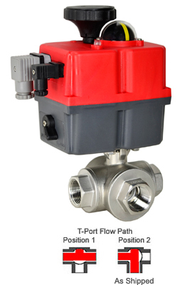 "1"" Electric 3-Way Stainless T-Diverter Valve, 24-240V AC/DC"