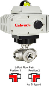 "1/2"" Electric 3-Way Stainless L-Diverter Valve, 24 VDC"