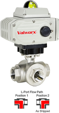 "Electric 3-Way Stainless L-Diverter Valve 1"", 24 VDC"