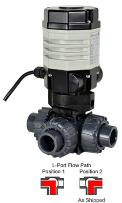 "Compact Electric 3-way PVC L-port Ball Valve PTFE/EPDM 1/2"", 24 VDC"