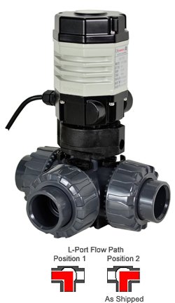 "Compact Electric 3-way PVC L-port Ball Valve PTFE/EPDM 3/4"", 110 VAC"