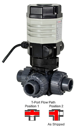 "Compact Electric 3-way PVC T-port Ball Valve PTFE/EPDM 1/2"", 24 VDC"