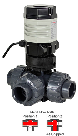 "3/4"" Compact Electric 3-way PVC T-port Ball Valve PTFE/EPDM, 110 VAC"