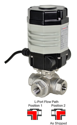 "Compact Electric 3-Way Stainless L-Diverter Valve 1/2"", 24 VAC"