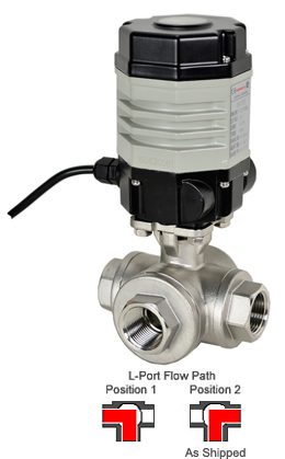 "Compact Electric 3-Way Stainless L-Diverter Valve 3/4"", 24 VDC"