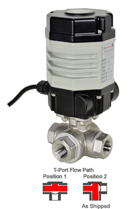"Compact Electric 3-Way Stainless T-Diverter Valve 1/4"", 110 VAC"
