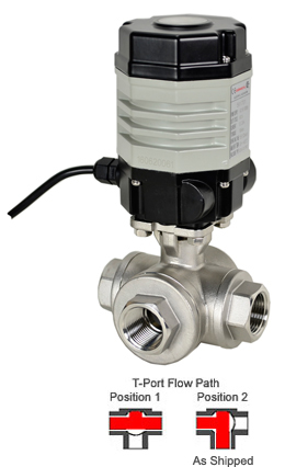 "1/2"" Compact Electric 3-Way Stainless T-Diverter Valve 24 VDC"