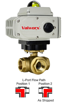 Electric 3-way Lead Free Brass L-Diverter Valve 1-1/4, 110 VAC