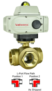 "Electric 3-way Lead Free Brass L-Diverter Valve 2"", 110 VAC"