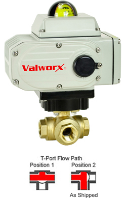 "1/2"" Electric 3-way Brass T-Diverter Valve 24 VDC"
