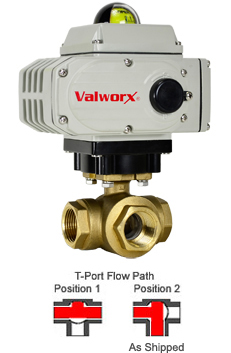 Electric 3-way Lead Free Brass T-Diverter Valve 1-1/4, 110 VAC