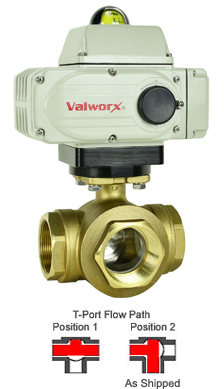 "Electric 3-way Lead Free Brass T-Diverter Valve 2"", 24 VDC"
