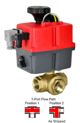 Electric 3-way Lead Free Brass T-Diverter Valve 1-1/4, 24-240V AC/DC