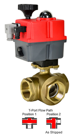 Electric 3-way Lead Free Brass T-Diverter Valve 2, 24-240V AC/DC