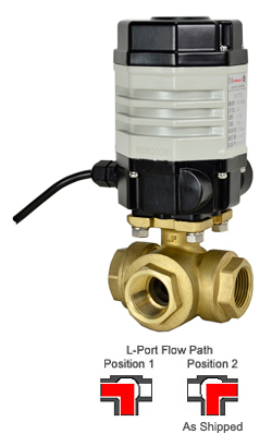 "3/4"" Compact Electric 3-way Brass L-Diverter Valve 24 VDC"