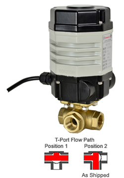 "Compact Electric 3-way Lead Free Brass T-Diverter Valve 1/2"", 110 VAC"