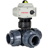 Electric Actuated PVC 3-Way Ball Valves - On/Off