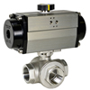 Air Actuated Stainless 3-Way Ball Valves- Rack & Pinion