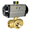 Air Actuated Brass 3-Way Ball Valves- Rack & Pinion