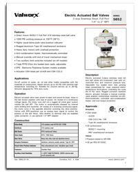 Product Data Sheets | Valworx Actuated Valves and Controls