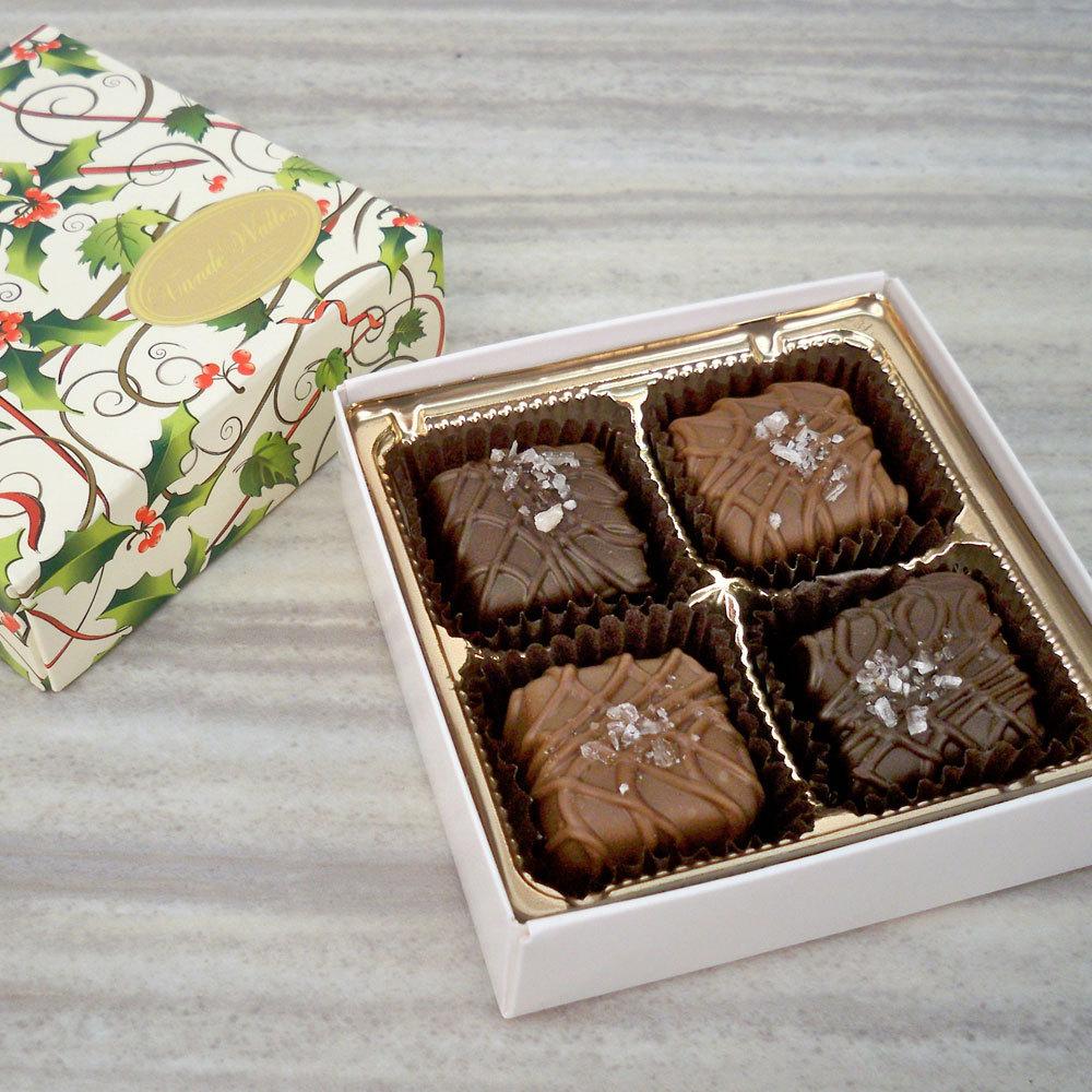 Sea Salt Caramels, Milk & Dark, Holly Design Box (4 pc)