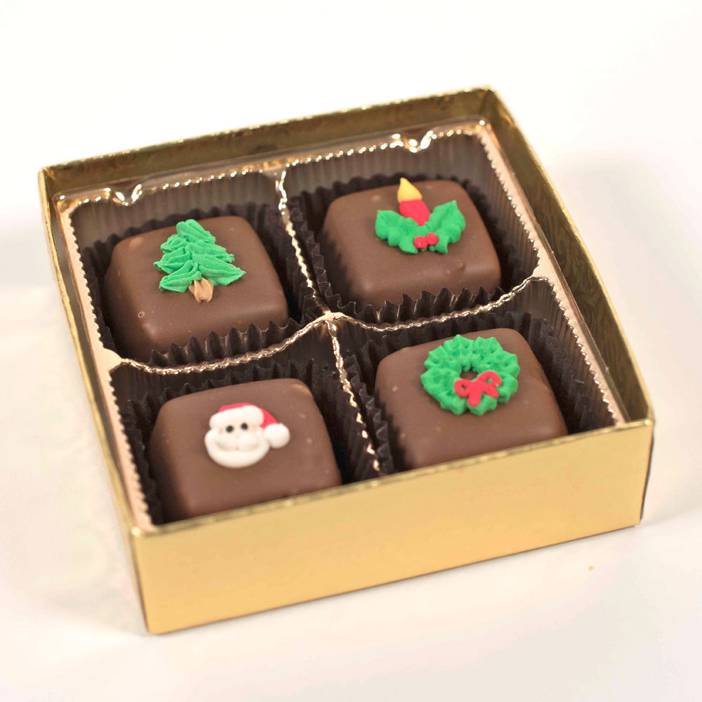 Chocolate Meltaways with Asst. Holiday Decorations - 4 pc. Box