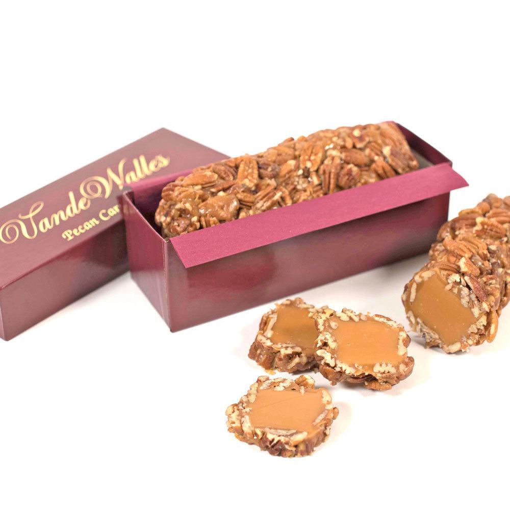 Pecan Caramel Log, Burgundy Gift Box