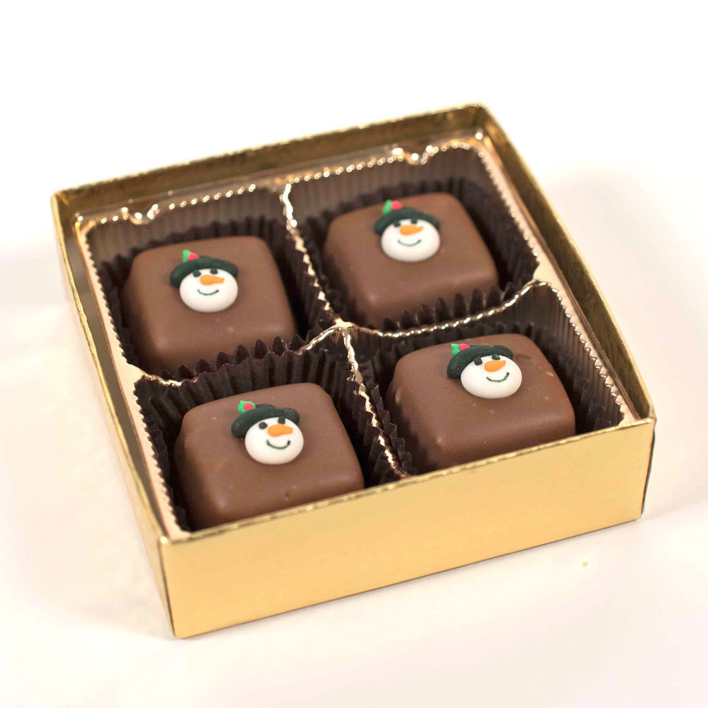Chocolate Meltaways with Snowman Face Decorations - 2.5 oz. Box (4 pc)
