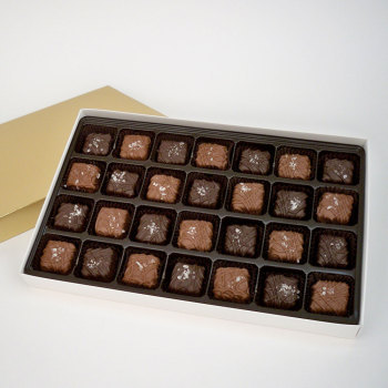 Sea Salt Caramels, Milk & Dark - 18 oz Box (28 pcs)
