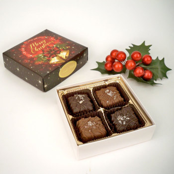 Sea Salt Caramels, Milk & Dark, Merry Christmas Design