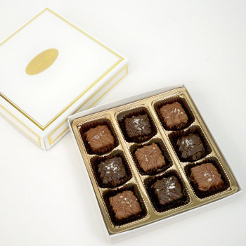Sea Salt Caramels, Milk & Dark - 9 pc Box