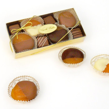 Dipped Glace Apricots with 4 Assorted Meltaways - 7 oz. Box
