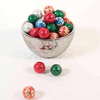 Foil Wrapped Milk Chocolate Ornament Balls - 8 oz. Bag
