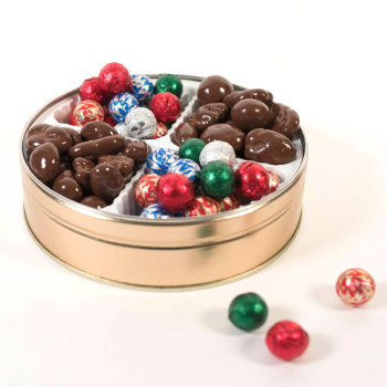 Gourmet Mixed Nuts and Foiled Ornaments Gift Tin