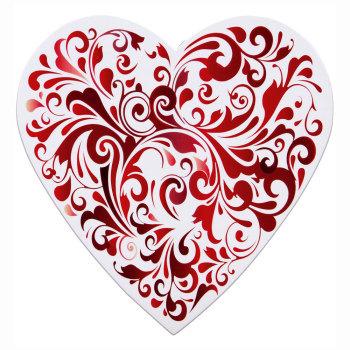 Red Swirls Design Heart,  Assorted Milk & Dark Chocolates - 8 oz.
