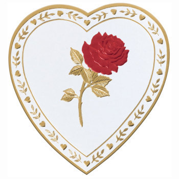 White Paper Heart with Red Rose,  Asst. Milk & Dark Chocolates - 1 lb.
