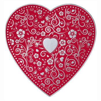 Embossed Silver & Red Heart,  Assorted Milk & Dark Chocolates - 8 oz.