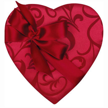 Red Satin Heart with Satin Bow , 1-1/2 lb.