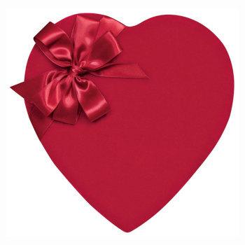 Red Velvet Heart with Satin Bow,  Assorted Milk & Dark Chocolates - 2 lb.