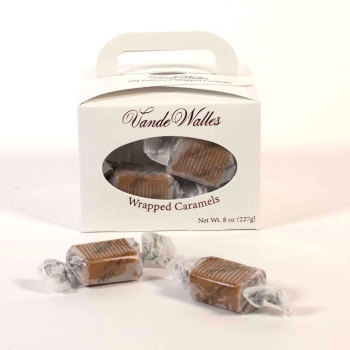 Wrapped Caramels - 8 oz. White Tote Box