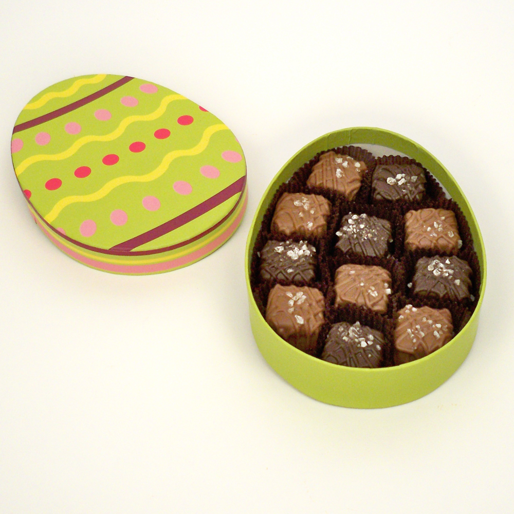 Sea Salt Caramels in Egg Box